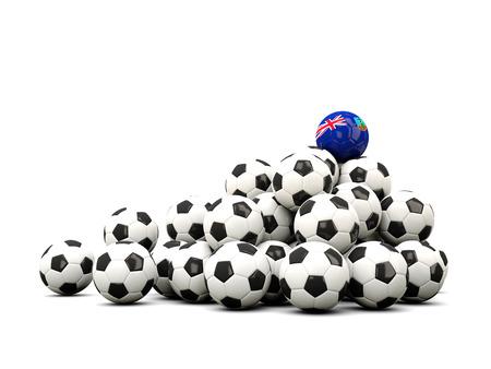 montserrat: Pile of soccer balls with flag of montserrat. 3D illustration
