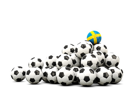 winning location: Pile of soccer balls with flag of sweden. 3D illustration Stock Photo