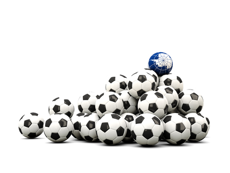 antarctica: Pile of soccer balls with flag of antarctica. 3D illustration Stock Photo