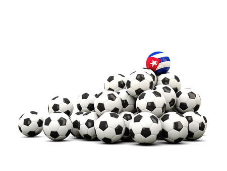 winning location: Pile of soccer balls with flag of cuba. 3D illustration