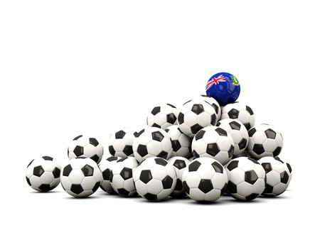 winning location: Pile of soccer balls with flag of virgin islands british. 3D illustration
