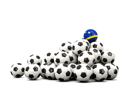 winning location: Pile of soccer balls with flag of curacao. 3D illustration