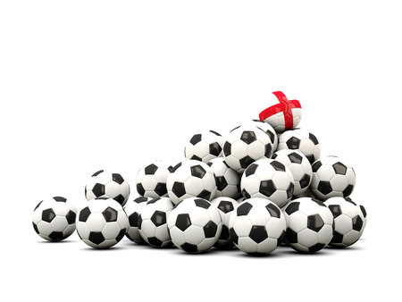 winning location: Pile of soccer balls with flag of england. 3D illustration Stock Photo