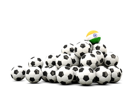 india 3d: Pile of soccer balls with flag of india. 3D illustration