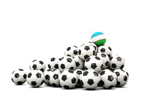winning location: Pile of soccer balls with flag of uzbekistan. 3D illustration Stock Photo