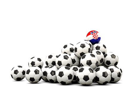 winning location: Pile of soccer balls with flag of croatia. 3D illustration