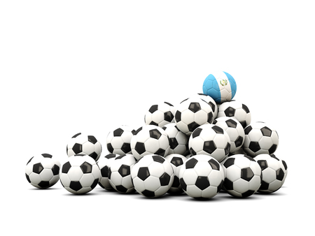 winning location: Pile of soccer balls with flag of guatemala. 3D illustration Stock Photo