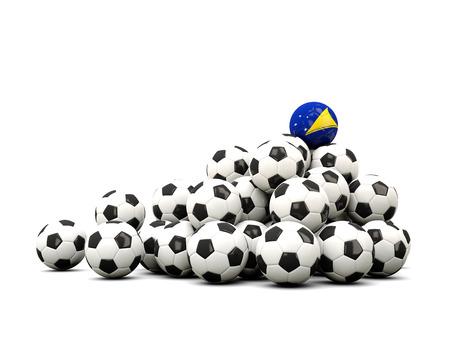 tokelau: Pile of soccer balls with flag of tokelau. 3D illustration