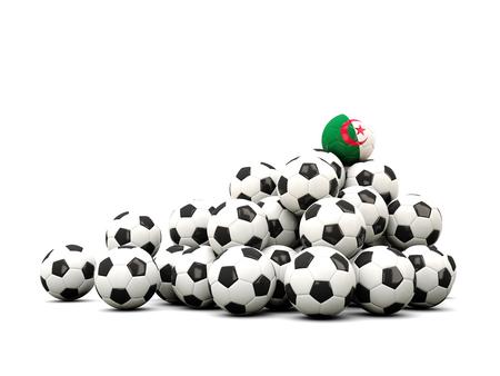 winning location: Pile of soccer balls with flag of algeria. 3D illustration