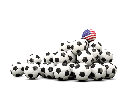 winning location: Pile of soccer balls with flag of united states of america. 3D illustration