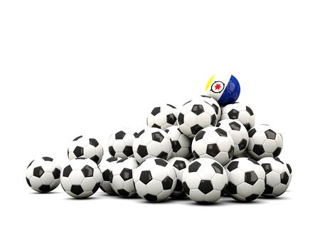 winning location: Pile of soccer balls with flag of bonaire. 3D illustration