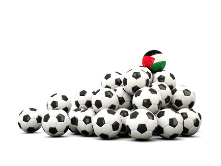 winning location: Pile of soccer balls with flag of palestinian territory. 3D illustration Stock Photo