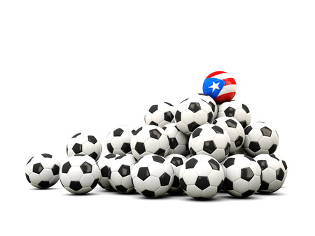 winning location: Pile of soccer balls with flag of puerto rico. 3D illustration