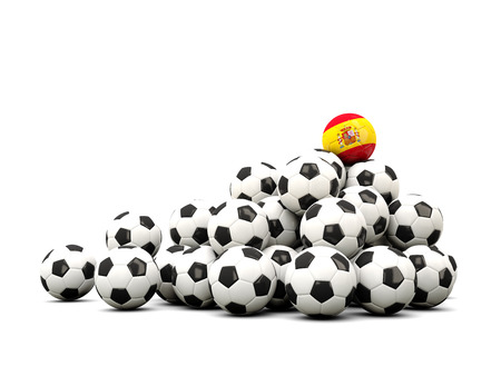 winning location: Pile of soccer balls with flag of spain. 3D illustration