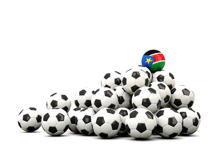 south sudan: Pile of soccer balls with flag of south sudan. 3D illustration Stock Photo