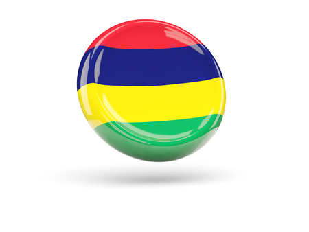 icon 3d: Flag of mauritius, round icon. 3D illustration Stock Photo