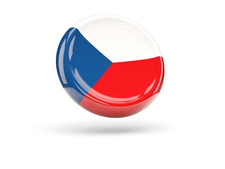 the czech republic: Flag of czech republic, round icon. 3D illustration
