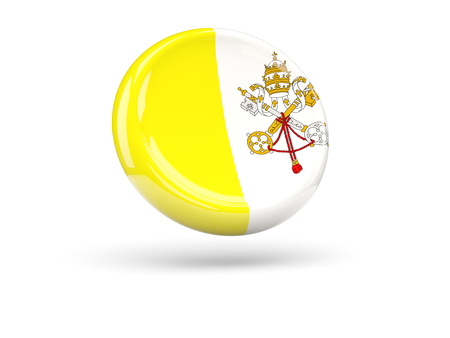 vatican city: Flag of vatican city, round icon. 3D illustration