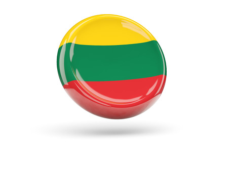 lithuania: Flag of lithuania, round icon. 3D illustration Stock Photo