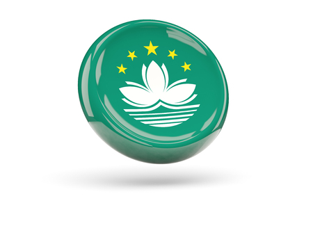 macao: Flag of macao, round icon. 3D illustration