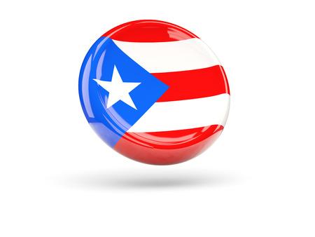 bandera de puerto rico: Bandera de Puerto Rico, icono ronda. ilustración 3D