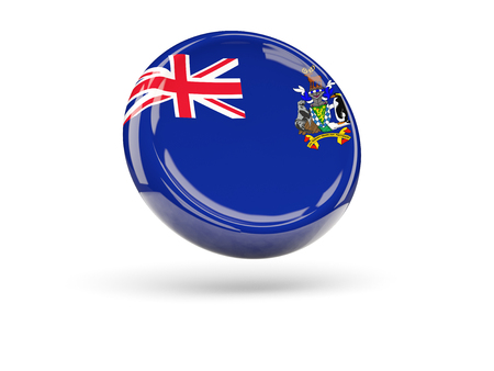 south georgia: Flag of south georgia and the south sandwich islands, round icon. 3D illustration Stock Photo
