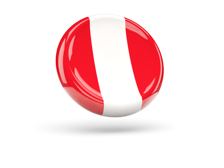 icon 3d: Flag of peru, round icon. 3D illustration Stock Photo