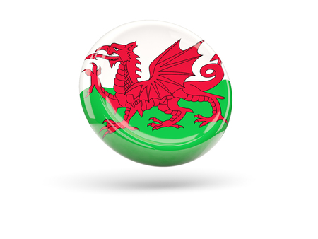 wales: Flag of wales, round icon. 3D illustration Stock Photo