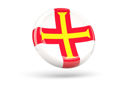 guernsey: Flag of guernsey, round icon. 3D illustration