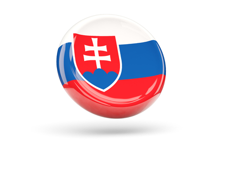 icon 3d: Flag of slovakia, round icon. 3D illustration