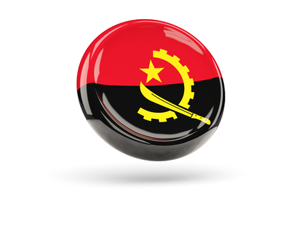 icon 3d: Flag of angola, round icon. 3D illustration Stock Photo