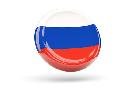 icon 3d: Flag of russia, round icon. 3D illustration