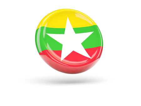 myanmar: Flag of myanmar, round icon. 3D illustration