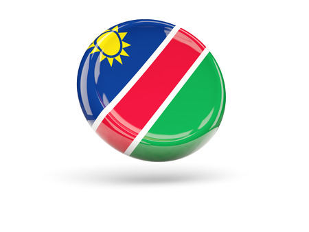 namibia: Flag of namibia, round icon. 3D illustration