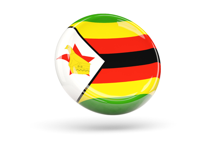 zimbabue: Flag of zimbabwe, round icon. 3D illustration