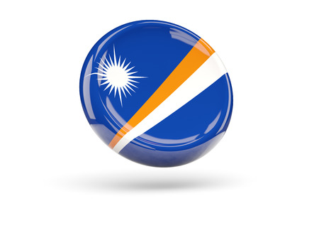 marshall: Flag of marshall islands, round icon. 3D illustration
