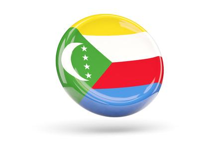 comoros: Flag of comoros, round icon. 3D illustration