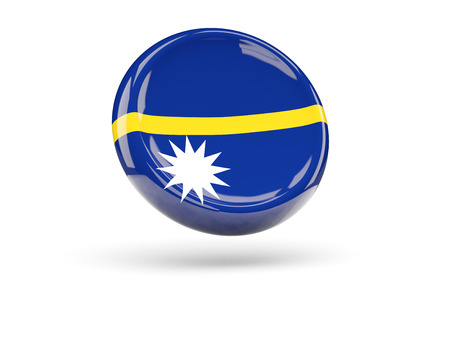 nauru: Flag of nauru, round icon. 3D illustration