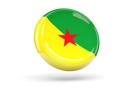 french guiana: Flag of french guiana, round icon. 3D illustration