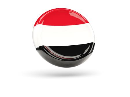 yemen: Flag of yemen, round icon. 3D illustration