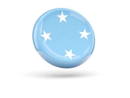 micronesia: Flag of micronesia, round icon. 3D illustration