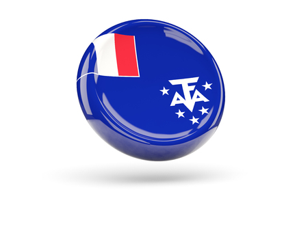 territories: Flag of french southern territories, round icon. 3D illustration Stock Photo