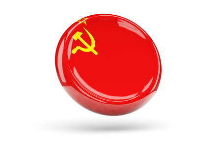 ussr: Flag of ussr, round icon. 3D illustration Stock Photo