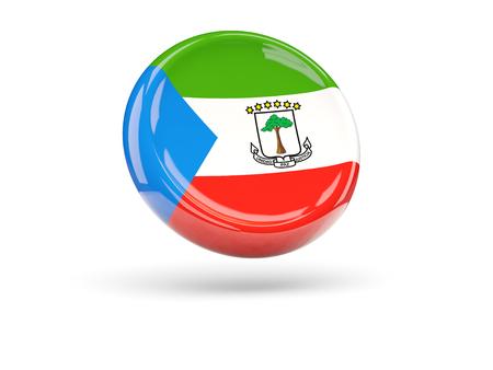 equatorial: Flag of equatorial guinea, round icon. 3D illustration