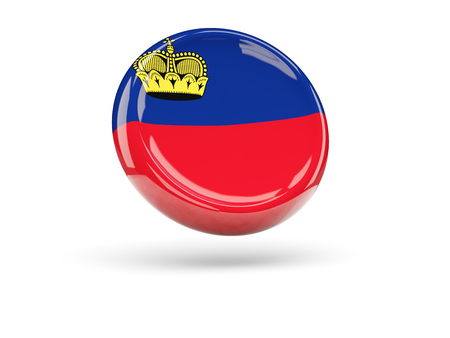 icon 3d: Flag of liechtenstein, round icon. 3D illustration Stock Photo