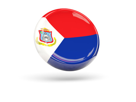 sint: Flag of sint maarten, round icon. 3D illustration