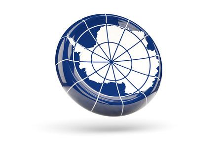 antarctica: Flag of antarctica, round icon. 3D illustration