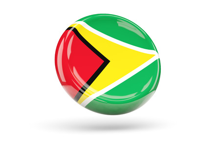 icon 3d: Flag of guyana, round icon. 3D illustration