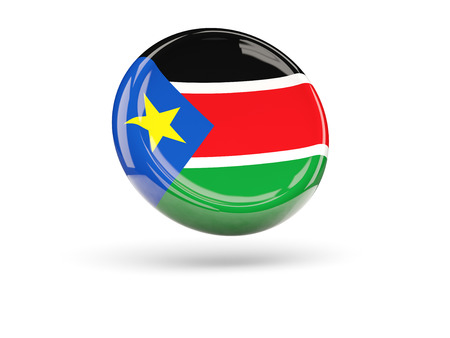 south sudan: Flag of south sudan, round icon. 3D illustration