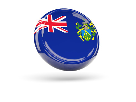 pitcairn: Flag of pitcairn islands, round icon. 3D illustration